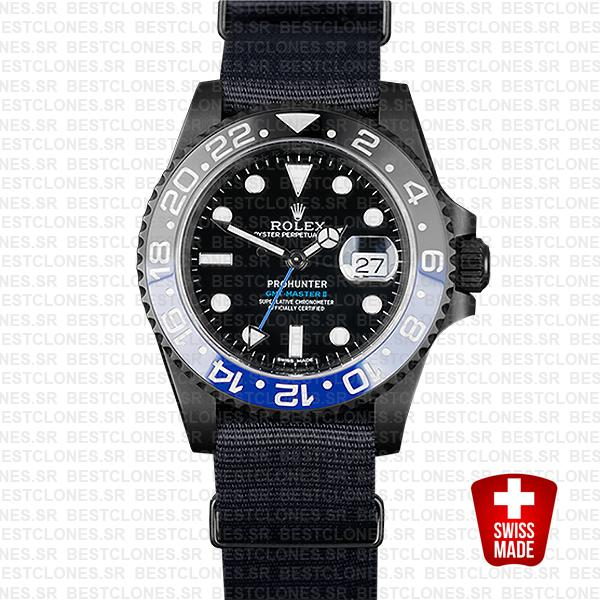 Rolex Gmt Master Ii Pro Hunter Dlc Blue Black Ceramic Nato Strap 40mm Oversized 116710 Replica
