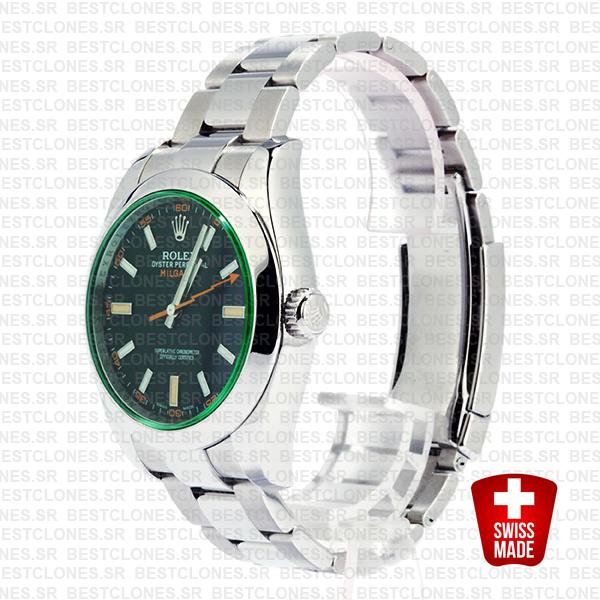 Rolex Milgauss Black Dial Green Crystal 40mm 116400 Swiss Replica