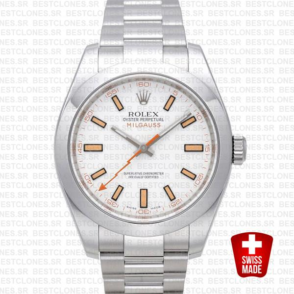 Rolex Milgauss White Dial 40mm 116400 Swiss Replica