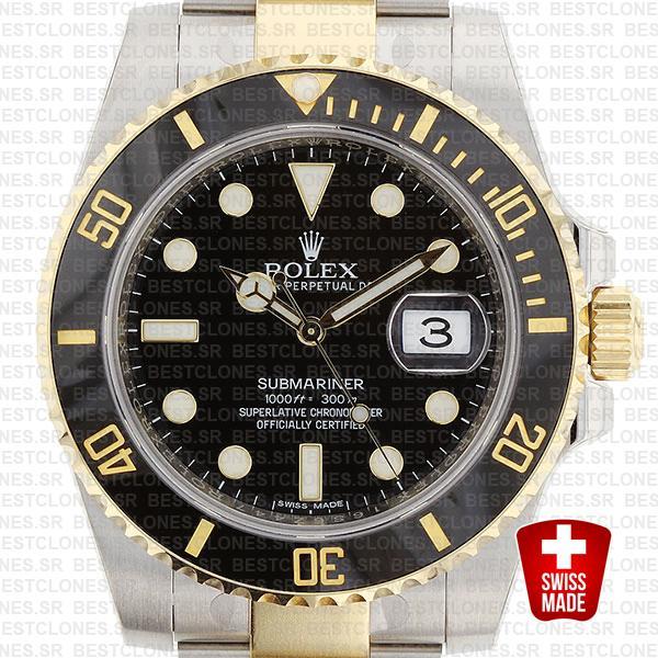 Rolex Submariner 2 Tone Black Ceramic 40mm 116613