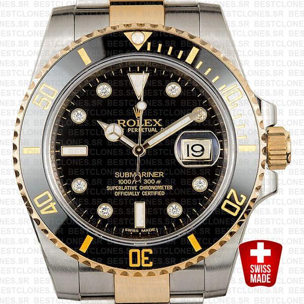 Rolex Submariner 2 Tone Black Diamonds Ceramic 40mm 116613