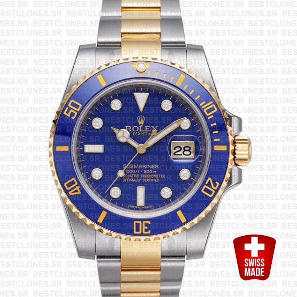 Rolex Submariner 2 Tone Blue Diamonds Ceramic 40mm 116613