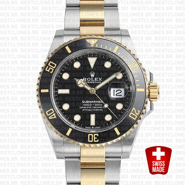 Rolex Submariner 41mm 2tone 904l Steel 18k Yellow Gold Wrap Black Dial Ceramic Bezel 126613ln Swiss Replica