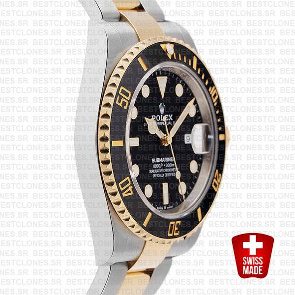 Rolex Submariner 41mm 2tone 904l Steel 18k Yellow Gold Wrap Black Dial Ceramic Bezel 126613ln Swiss Replica