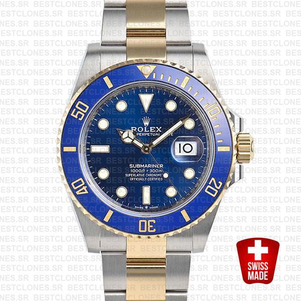 Rolex Submariner 41mm 2tone 904l Steel 18k Yellow Gold Wrap Blue Dial Ceramic Bezel 126613lb Swiss Replica