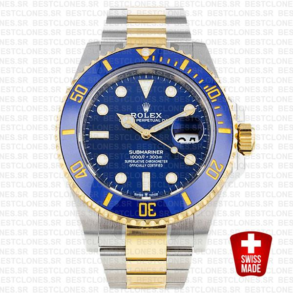 Rolex Submariner 41mm 2tone 904l Steel 18k Yellow Gold Wrap Blue Dial Ceramic Bezel 126613lb Swiss Replica