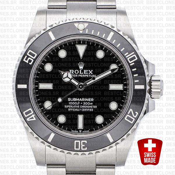 Rolex Submariner 41mm 904l Steel No-date Black Dial Ceramic Bezel 124060  Swiss Replica Watch