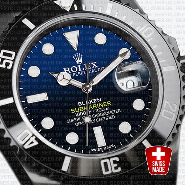 Rolex Submariner Blaken D Blue Dial Dlc Black Ceramic Bezel