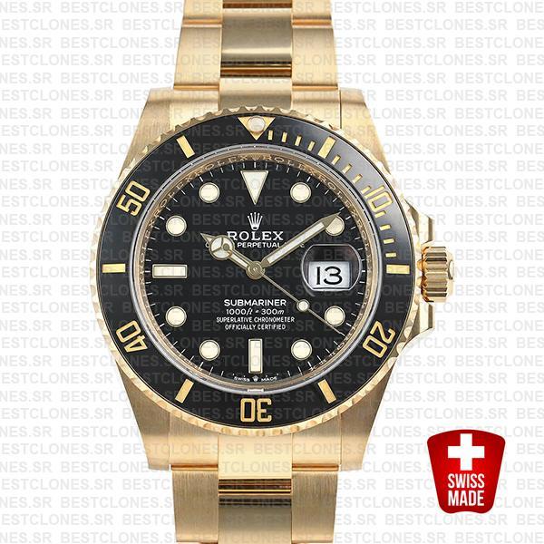 rolex submariner gold 41mm black ceramic 126618ln swiss replica 1