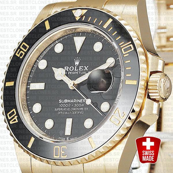 rolex submariner gold 41mm black ceramic 126618ln swiss replica 6