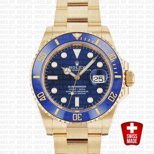 Rolex Submariner 41mm 18k Yellow Gold Wrapped 904l Steel Blue Dial Ceramic Bezel 126618lb Swiss Replica