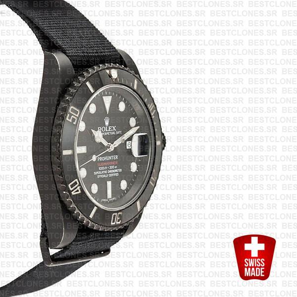 Rolex Submariner Prohunter Dlc Date Nato Black Dial Ceramic Bezel 40mm Oversized 116610